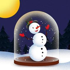 原创元素圣诞雪人水晶球