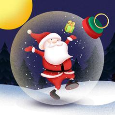 原创元素圣诞老人水晶球