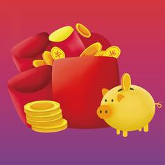 原创元素手绘金钱储钱罐小猪元素