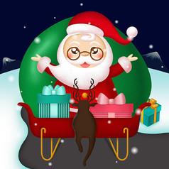 原创驾车送礼物的圣诞老人卡通插画