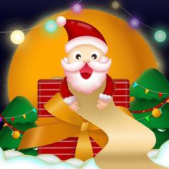 原创记账的圣诞老人卡通插画
