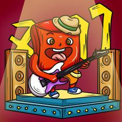 原创元素红包乐队吉他手