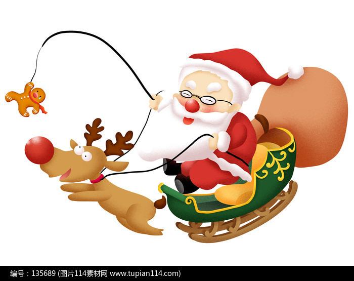 原創元素聖誕老人駕雪橇
