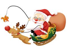 原创元素圣诞老人驾雪橇