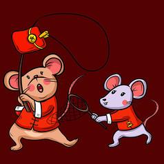 原创元素新年创意老鼠