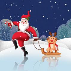 原创元素搞怪圣诞老人插画