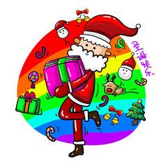 原创手绘圣诞老人抱着礼物元素