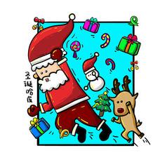 原创手绘圣诞节圣诞老人超人元素