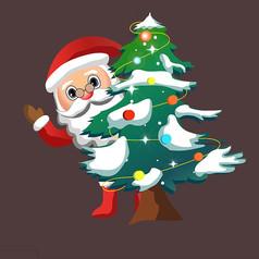 圣诞老人和圣诞树图片