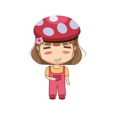 袋蘑菇帽子的女孩子