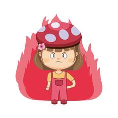 发火的帽子女孩