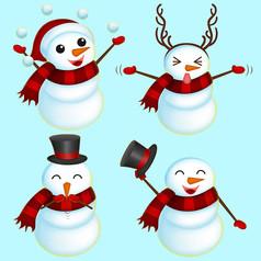 原创卡通雪人可爱表情包