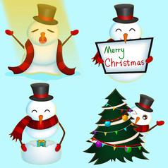 原创可爱雪人圣诞表情包
