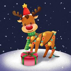 原创手绘圣诞驯鹿