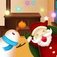圣诞老人与小伙伴们卡通插画