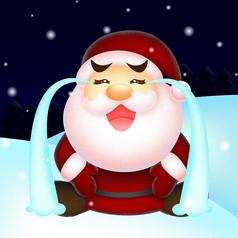 雪地中大哭的圣�Q老