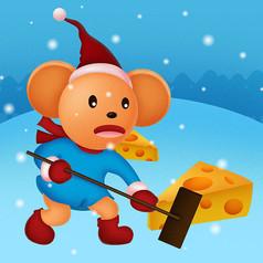 原��滑冰玩起司老鼠卡通插��
