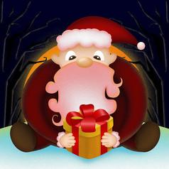 原创夜色下捧着礼物的圣诞老人卡通