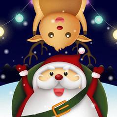 原創可愛接著麋鹿的聖誕老人插畫