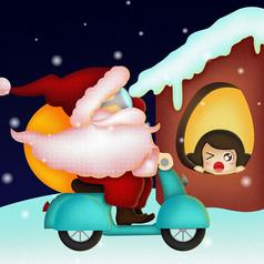 骑着摩托车送礼物的圣诞老人卡通