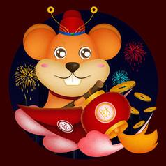 原创骑着红包的老鼠卡通