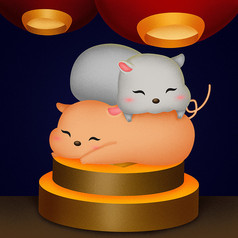 原創疊在金幣上的老鼠卡通插畫
