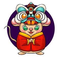 原��元素鼠年�{�^拜年鼠