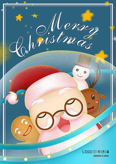 手绘卡通圣诞节海报模板