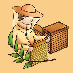 原创元素采蜂蜜