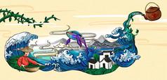原创元素浮世绘风格茶叶插画