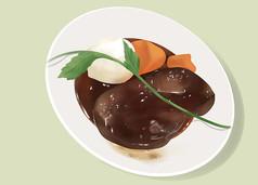 原��手�L插��牛排雪糕美食食物元素