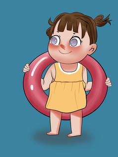 原��手�L插��夏天游泳夏日�鏊�卡通女孩元素