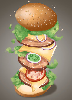原创手绘插画创意汉堡元素