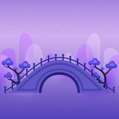 紫色七夕拱桥背景