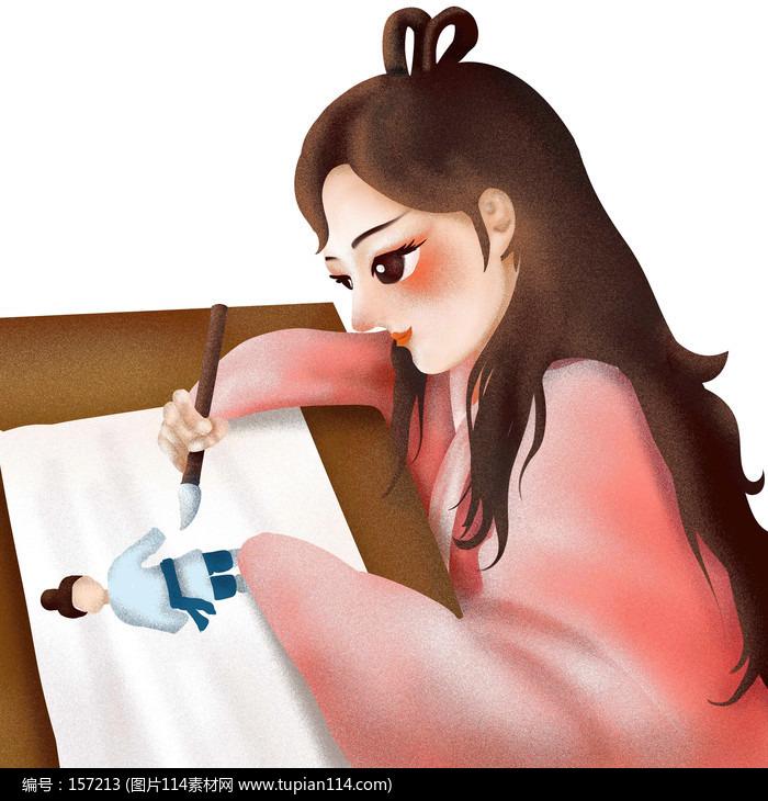 原创七夕牛郎织女古装女孩画画