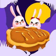 原创剪纸风中秋兔子月饼