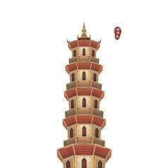 手绘彩色西湖泗州塔