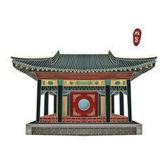 彩色手绘故宫戏台