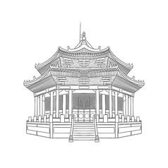 手绘黑白故宫大政殿