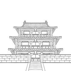 手绘黑白故宫凤凰楼