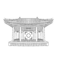 黑白手绘故宫戏台