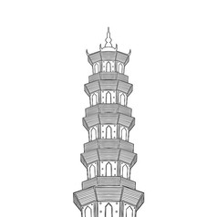 手绘黑白西湖泗州塔